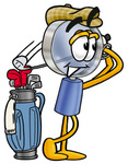 Clip Art Graphic of a Blue Handled Magnifying Glass Cartoon Character Swinging His Golf Club While Golfing