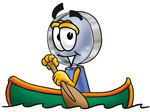 Clip Art Graphic of a Blue Handled Magnifying Glass Cartoon Character Rowing a Boat
