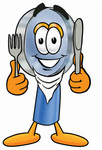 Clip Art Graphic of a Blue Handled Magnifying Glass Cartoon Character Holding a Knife and Fork