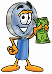 Clip Art Graphic of a Blue Handled Magnifying Glass Cartoon Character Holding a Dollar Bill