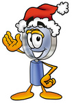Clip Art Graphic of a Blue Handled Magnifying Glass Cartoon Character Wearing a Santa Hat and Waving