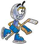 Clip Art Graphic of a Blue Handled Magnifying Glass Cartoon Character Playing Ice Hockey