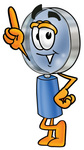 Clip Art Graphic of a Blue Handled Magnifying Glass Cartoon Character Pointing Upwards