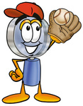 Clip Art Graphic of a Blue Handled Magnifying Glass Cartoon Character Catching a Baseball With a Glove