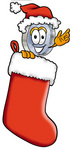 Clip Art Graphic of a Blue Handled Magnifying Glass Cartoon Character Wearing a Santa Hat Inside a Red Christmas Stocking