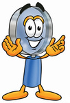 Clip Art Graphic of a Blue Handled Magnifying Glass Cartoon Character With Welcoming Open Arms