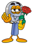 Clip Art Graphic of a Blue Handled Magnifying Glass Cartoon Character Holding a Red Rose on Valentines Day