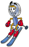 Clip Art Graphic of a Blue Handled Magnifying Glass Cartoon Character Skiing Downhill