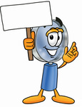 Clip Art Graphic of a Blue Handled Magnifying Glass Cartoon Character Holding a Blank Sign