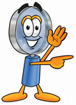 Clip Art Graphic of a Blue Handled Magnifying Glass Cartoon Character Waving and Pointing
