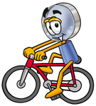 Clip Art Graphic of a Blue Handled Magnifying Glass Cartoon Character Riding a Bicycle