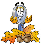Clip Art Graphic of a Blue Handled Magnifying Glass Cartoon Character With Autumn Leaves and Acorns in the Fall