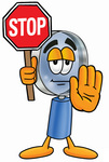 Clip Art Graphic of a Blue Handled Magnifying Glass Cartoon Character Holding a Stop Sign