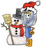 Clip Art Graphic of a Blue Handled Magnifying Glass Cartoon Character With a Snowman on Christmas
