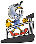 Clip Art Graphic of a Blue Handled Magnifying Glass Cartoon Character Walking on a Treadmill in a Fitness Gym