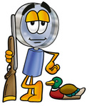 Clip Art Graphic of a Blue Handled Magnifying Glass Cartoon Character Duck Hunting, Standing With a Rifle and Duck