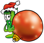 Clip Art Graphic of a Rolled Greenback Dollar Bill Banknote Cartoon Character Wearing a Santa Hat, Standing With a Christmas Bauble