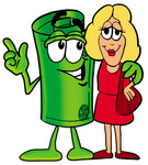 Clip Art Graphic of a Rolled Greenback Dollar Bill Banknote Cartoon Character Talking to a Pretty Blond Woman