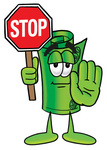 Clip Art Graphic of a Rolled Greenback Dollar Bill Banknote Cartoon Character Holding a Stop Sign