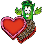 Clip Art Graphic of a Rolled Greenback Dollar Bill Banknote Cartoon Character With an Open Box of Valentines Day Chocolate Candies