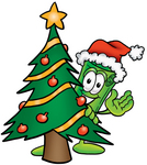 Clip Art Graphic of a Rolled Greenback Dollar Bill Banknote Cartoon Character Waving and Standing by a Decorated Christmas Tree
