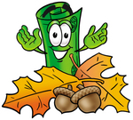 Clip Art Graphic of a Rolled Greenback Dollar Bill Banknote Cartoon Character With Autumn Leaves and Acorns in the Fall