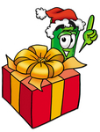Clip Art Graphic of a Rolled Greenback Dollar Bill Banknote Cartoon Character Standing by a Christmas Present