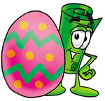 Clip Art Graphic of a Rolled Greenback Dollar Bill Banknote Cartoon Character Standing Beside an Easter Egg