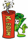 Clip Art Graphic of a Rolled Greenback Dollar Bill Banknote Cartoon Character Standing With a Lit Stick of Dynamite