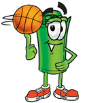 Clip Art Graphic of a Rolled Greenback Dollar Bill Banknote Cartoon Character Spinning a Basketball on His Finger