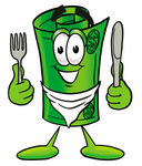 Clip Art Graphic of a Rolled Greenback Dollar Bill Banknote Cartoon Character Holding a Knife and Fork