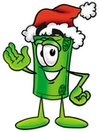 Clip Art Graphic of a Rolled Greenback Dollar Bill Banknote Cartoon Character Wearing a Santa Hat and Waving
