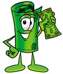 Clip Art Graphic of a Rolled Greenback Dollar Bill Banknote Cartoon Character Holding a Dollar Bill