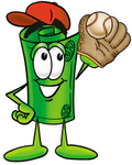 Clip Art Graphic of a Rolled Greenback Dollar Bill Banknote Cartoon Character Catching a Baseball With a Glove
