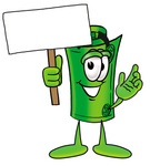 Clip Art Graphic of a Rolled Greenback Dollar Bill Banknote Cartoon Character Holding a Blank Sign