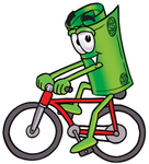 Clip Art Graphic of a Rolled Greenback Dollar Bill Banknote Cartoon Character Riding a Bicycle