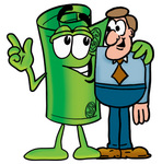 Clip Art Graphic of a Rolled Greenback Dollar Bill Banknote Cartoon Character Talking to a Business Man