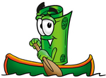 Clip Art Graphic of a Rolled Greenback Dollar Bill Banknote Cartoon Character Rowing a Boat