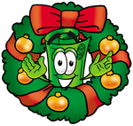 Clip Art Graphic of a Rolled Greenback Dollar Bill Banknote Cartoon Character in the Center of a Christmas Wreath