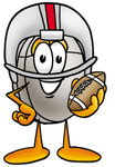 Clip Art Graphic of a Wired Computer Mouse Cartoon Character in a Helmet, Holding a Football