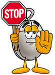 Clip Art Graphic of a Wired Computer Mouse Cartoon Character Holding a Stop Sign