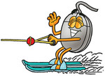 Clip Art Graphic of a Wired Computer Mouse Cartoon Character Waving While Water Skiing