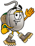 Clip Art Graphic of a Wired Computer Mouse Cartoon Character Hiking and Carrying a Backpack