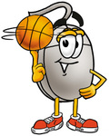 Clip Art Graphic of a Wired Computer Mouse Cartoon Character Spinning a Basketball on His Finger
