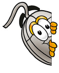 Clip Art Graphic of a Wired Computer Mouse Cartoon Character Peeking Around a Corner