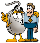 Clip Art Graphic of a Wired Computer Mouse Cartoon Character Talking to a Business Man