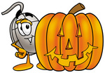 Clip Art Graphic of a Wired Computer Mouse Cartoon Character With a Carved Halloween Pumpkin