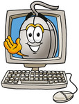 Clip Art Graphic of a Wired Computer Mouse Cartoon Character Waving From Inside a Computer Screen