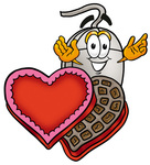 Clip Art Graphic of a Wired Computer Mouse Cartoon Character With an Open Box of Valentines Day Chocolate Candies