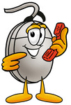 Clip Art Graphic of a Wired Computer Mouse Cartoon Character Holding a Telephone